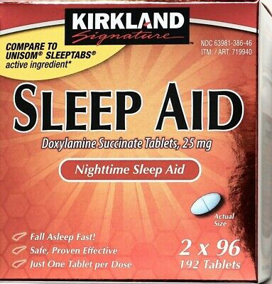 Kirkland Signature Sleep-Aid Doxylamine Succinate 25mg, 96 192 or 384 Tablets