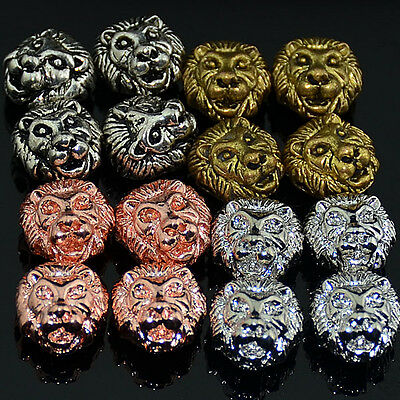 Solid Metal Lion Head Bracelet Necklace Connector Charm Beads 12mm