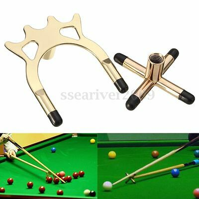 2x Brass Cross & Spider Holder Rests For Pool Snooker Billiards Table Cue Stick
