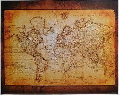 (LAMINATED) Antique Style World MAP POSTER (40x50cm) New Licensed Art