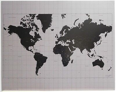 World MAP POSTER (40x50cm) Black & Silver New Licensed Art