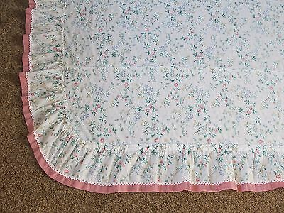 Twin Cotton Dust Ruffle Bed Skirt Pink Roses Flowers Floral Lace Edge Excellent