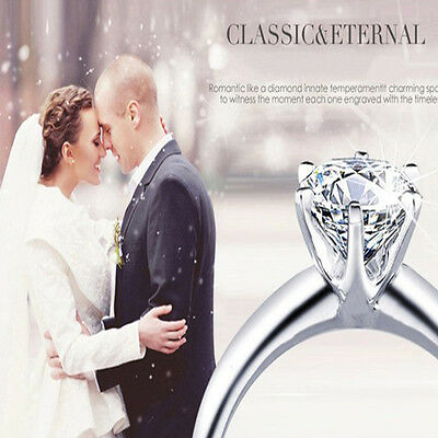 New Women Silver Plated cubic zirconia Jewelry Wedding Ring Size 6-8 Gift