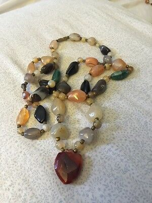 Antique African Agates Trade Stones Beads Collectible Necklace