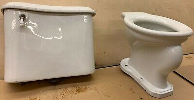 Antique C&D Co. Toilet white, porcelain Vintage Low Tank Wall Hung Bowl and Tank