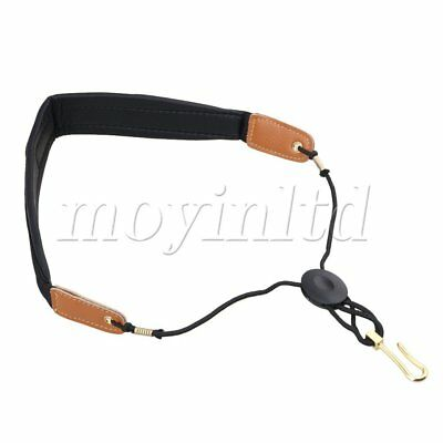 Sax Adjustable Leather Nylon Saxophone Harness Neck Strap in Black And Brown