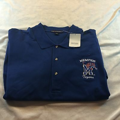 Memphis Tigers Blue Golf Coaching Polo By Port Authority Sz 5XL NWT 100% Cotton