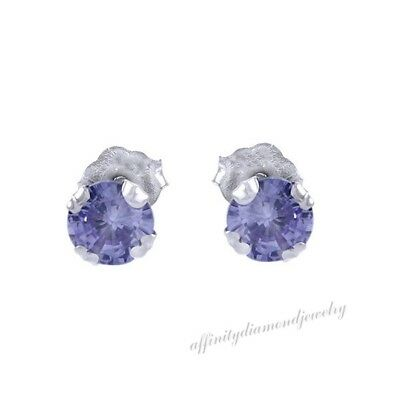 1.00 Ct 5mm Round Cut Tanzanite Stud Earrings In 14K White Gold Over
