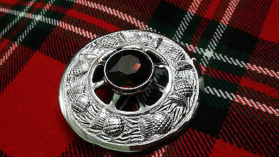 """TC Celtic Fly Plaid Brooch Chrome Finish Purple Stone 3""""/Thistle Brooches Pins"""