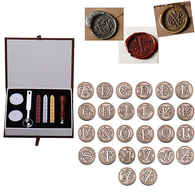 Vintage Alphabet Initial Letter Badge Wax Seal Stamp w/Wax Kit Set Letter A-Z