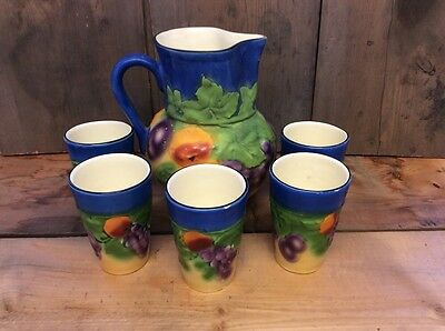 Vintage Czech Ditmar Urbach Colorful Theme Pitcher & 5 Glass Set