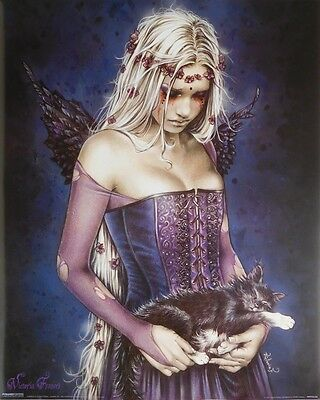(LAMINATED) VICTORIA FRANCES CAT PINUP POSTER (40x50cm) GOTHIC ANGEL NEW ART