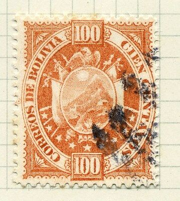 BOLIVIA;  1890s early classic issue fine used 100c. value
