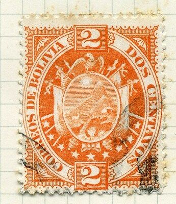 BOLIVIA;  1890s early classic issue fine used 2c. value