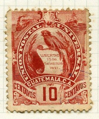 GUATEMALA;  1886 early Arms issue used 10c. value