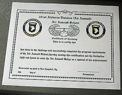 101 Airborne Air Assault course Training Certificate 6 type 2