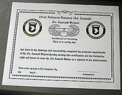 101 Airborne Air Assault course Training Certificate type 2!