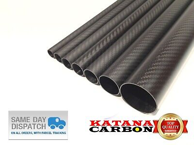 1 x OD 24mm x ID 22mm x 1000mm (1 m) 3k Carbon Fiber Tube (Roll Wrapped) Fibre