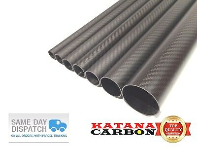 1 x OD 25mm x ID 23mm x 1000mm (1 m) 3k Carbon Fiber Tube (Roll Wrapped) Fibre
