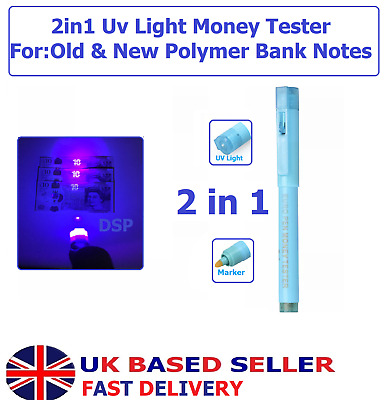 2in1 UV light Counterfeit Fake Forged Bank Note Money Tester Detector Light Pen