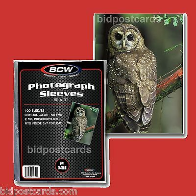 100 BCW 5x7 Crystal Clear Soft Poly Sleeves for Large Postcards and Photographs