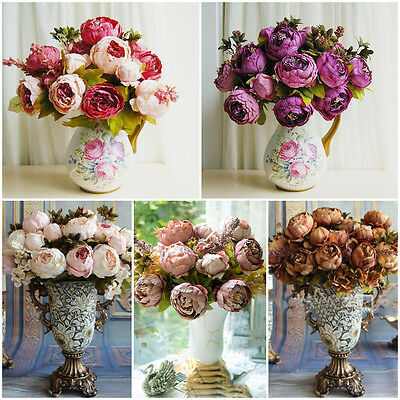 1 Bouquet 8 Heads Vintage Artificial Peony Silk Flower Room Wedding Party Decor