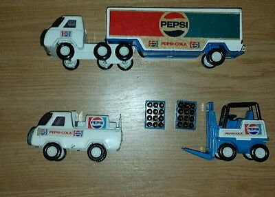 70's Vintage Buddy L Pepsi Cola Delivery Trucks And  Fork Lift 2 Cases