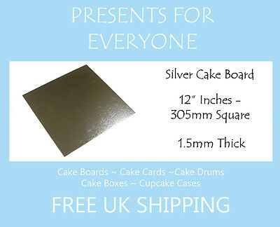"""5 x 12"""" Inch Square Silver Covered Cake Board FREE SHIPPING"""