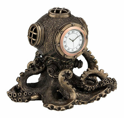 Steampunk Octopus Diving Bell Clock Sculpture Nautical Statue Figurine