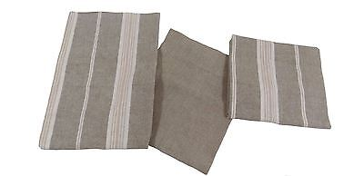 3 X 100% Cotton Beige Cream Chambray Tartan Plaid Check Stripe Thick Tea Towels