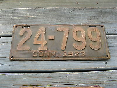1923 23  Connecticut Ct License Plate Nice Tag