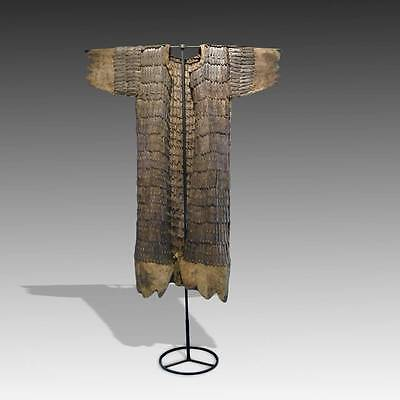 Rare Antique Lamellar Suit Of Armor Forged Iron Tibet 12Th-14Th C. With Base