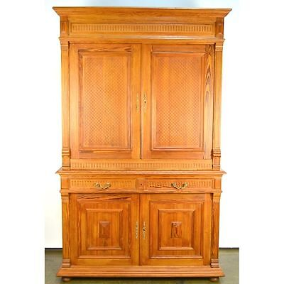 Antique French Country Provincial Pitch Pine Rustic Farm House Geometric Cabinet