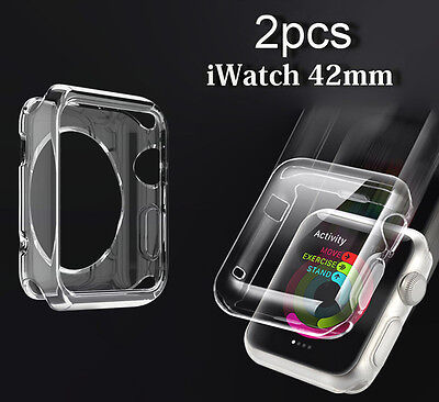 Apple Watch Snapon Glass Screen Protector and Clear TPU Case for 42mm