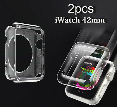 Full Protect SnapOn case+Clear Soft Case Cover For Apple Watch iWatch 42mm
