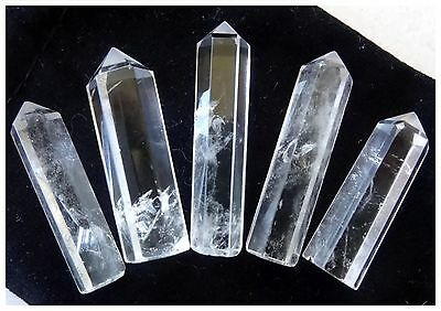 5 PC CRYSTAL QUARTZ Single Terminated PENCIL POINT SET Gemstone Healing GIFT