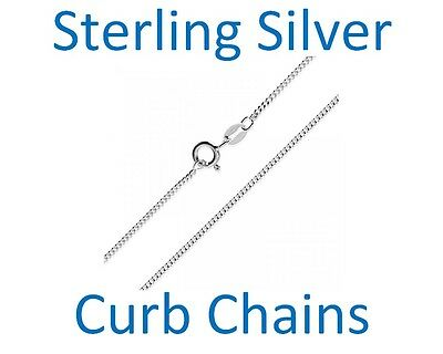 UK 16, 18 inch Sterling Silver 925 Curb  Chain Necklace Italian