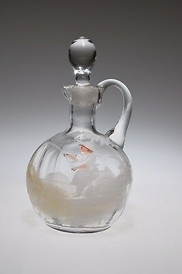 4Q 1800's MARY GREGORY attr. Bohemian CLEAR Optic Hand Blown & Painted Cruet
