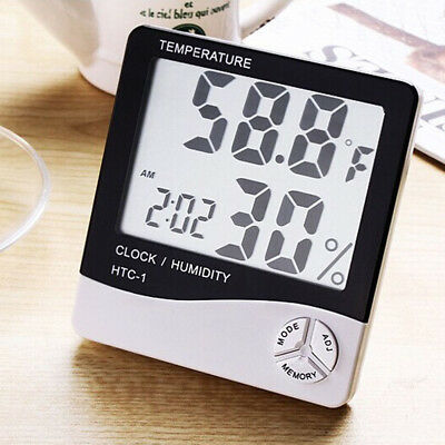 Digital LCD Thermometer Hygrometer Temperature Humidity Meter Gauge Clock White