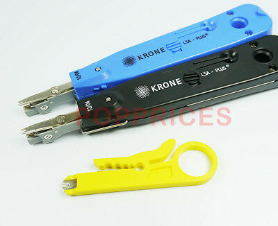 2PCS Krone Network Impact LSA-Plus Punch Down Tool Black Blue+ Stripping Tool