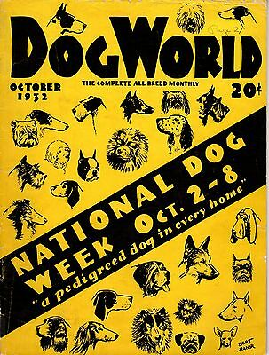 Vintage Dog World Magazine October 1932 National Dog Week Cover