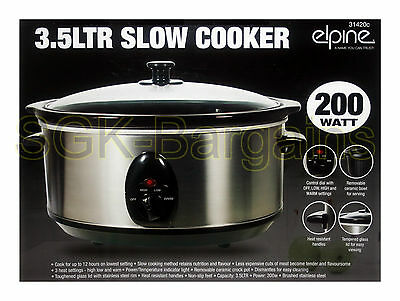 New Stainless Steel Slow Cooker Pot Glass Lid Removable Ceramic Inner Bowl 3.5L