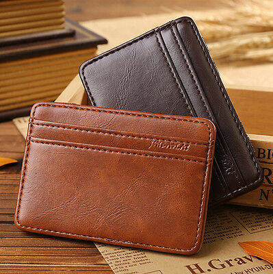 Stylish Men's Silm Leather Magic Bifold Money Clip Wallet ID Credit Card Holder