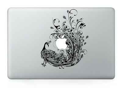 Macbook 13 inch decal sticker peacock and apple art for Apple Laptop