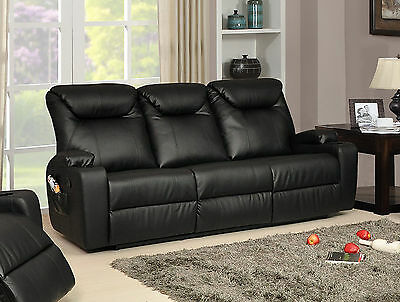 New Luxury Cinema Hollywood 3 Seater Bonded Leather Recliner Sofa - Black