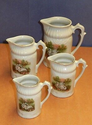 Set Of 4 Antique Porcelain Creamers With Swan Art - Rs Prussia?