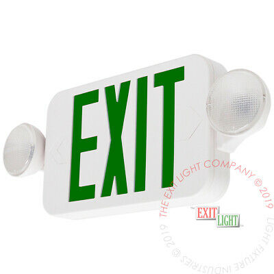LED Green Exit Sign & Emergency Light - Compact Combo UL COMBOGJR