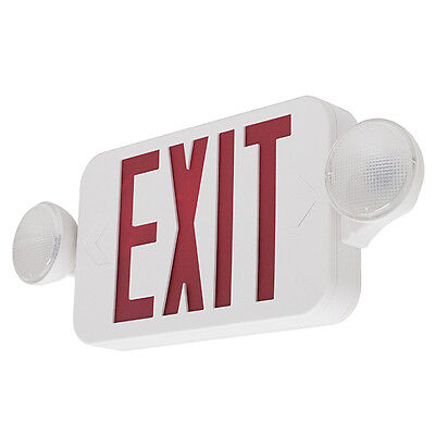 LED Exit Sign & Emergency Light – RED Compact Combo UL COMBORJR
