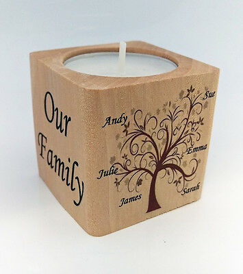 Beautiful Tea Light Candle Holder Personalised Family Tree Children Gift Present