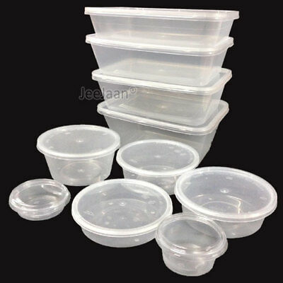 Food Container Plastic Rectangular/Round Clear Storage Tups with Lids All Sizes